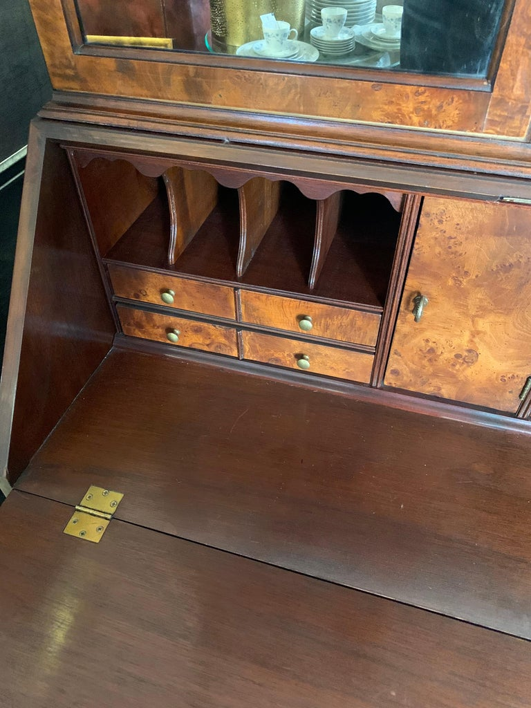 Flame Mahogany Secretary Secrétaire Two-Piece with Mirrored Top For Sale 4