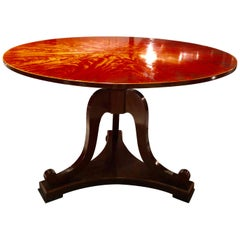 Flame Mahogany Tilt-Top Lyre Base Center or Dining Table
