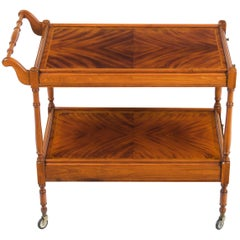 Flame Mahogany Two-Tier Serving Trolley Tea Bar Cart with Drawer