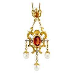 Flame of Aurora Pendant in 18kt Yellow & White Gold, Tourmaline, Diamond, Pearls
