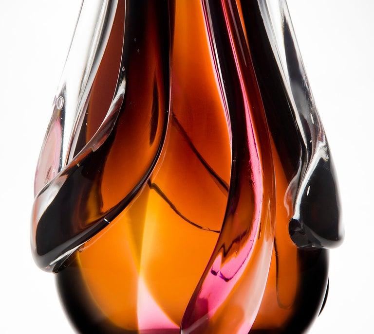 British Flame Vase, a pink, orange, auburn & clear unique glass vase by Nigel Coates For Sale