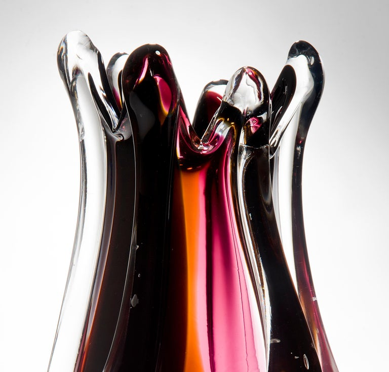 Flame Vase, a pink, orange, auburn & clear unique glass vase by Nigel Coates In New Condition For Sale In London, GB