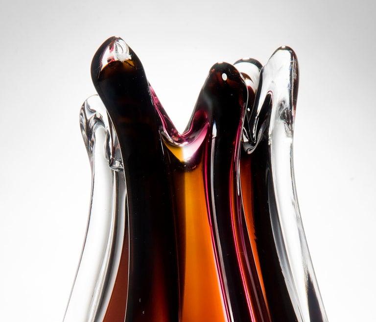 Contemporary Flame Vase, a pink, orange, auburn & clear unique glass vase by Nigel Coates For Sale