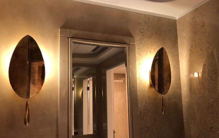 """Modern """"Flame"""" contemporary wall sconce bronzed Silvered Glass, brass, crystal drop For Sale"""
