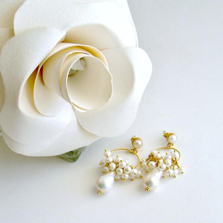 Artisan Flameball Pearl Cluster Hoop Earrings, Liesel Earrings For Sale
