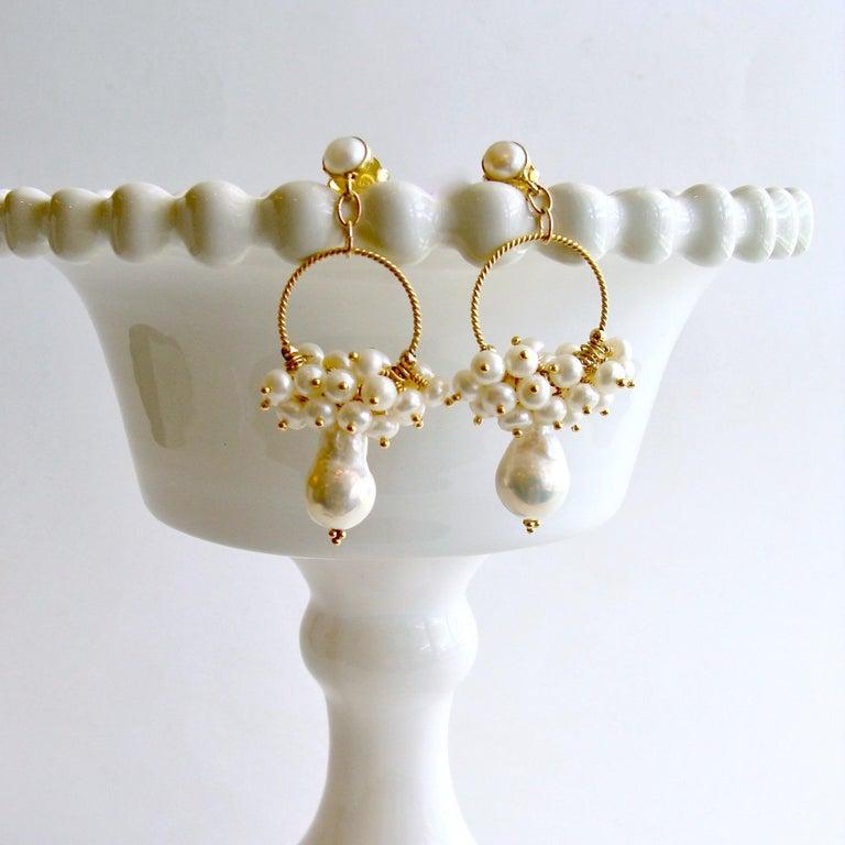 Flameball Pearl Cluster Hoop Earrings, Liesel Earrings In New Condition For Sale In Scottsdale, AZ