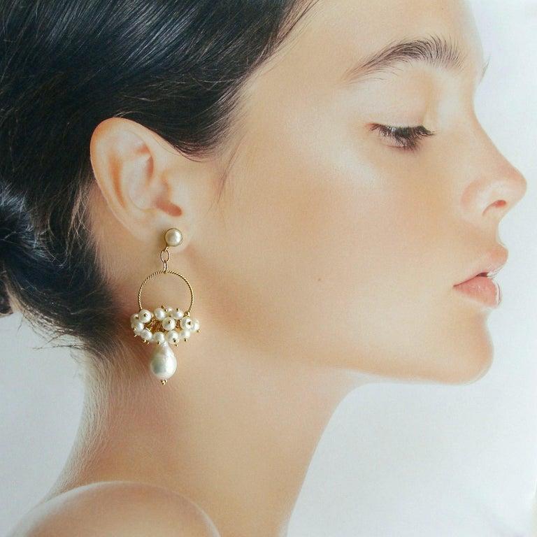 Women's or Men's Flameball Pearl Cluster Hoop Earrings, Liesel Earrings For Sale