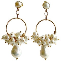 Flameball Pearl Cluster Hoop Earrings, Liesel Earrings