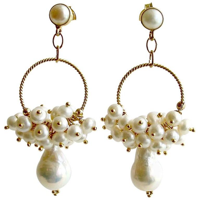 Flameball Pearl Cluster Hoop Earrings, Liesel Earrings For Sale