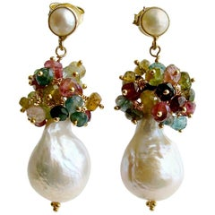 Flameball Pearl Tourmaline Cluster Earrings, Katerina Earrings