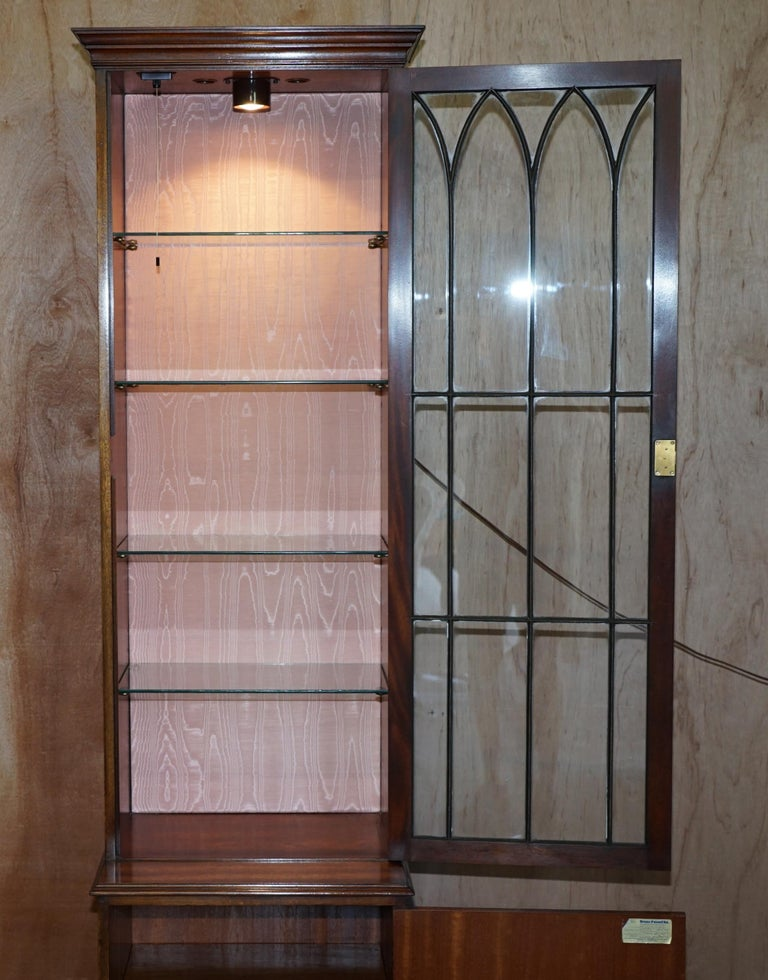 Flamed Hardwood  Bevan Funnell Glass Shelves with Lights Library Boocase Cabinet For Sale 4