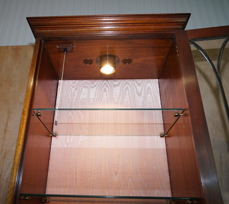 Flamed Hardwood  Bevan Funnell Glass Shelves with Lights Library Boocase Cabinet For Sale 6