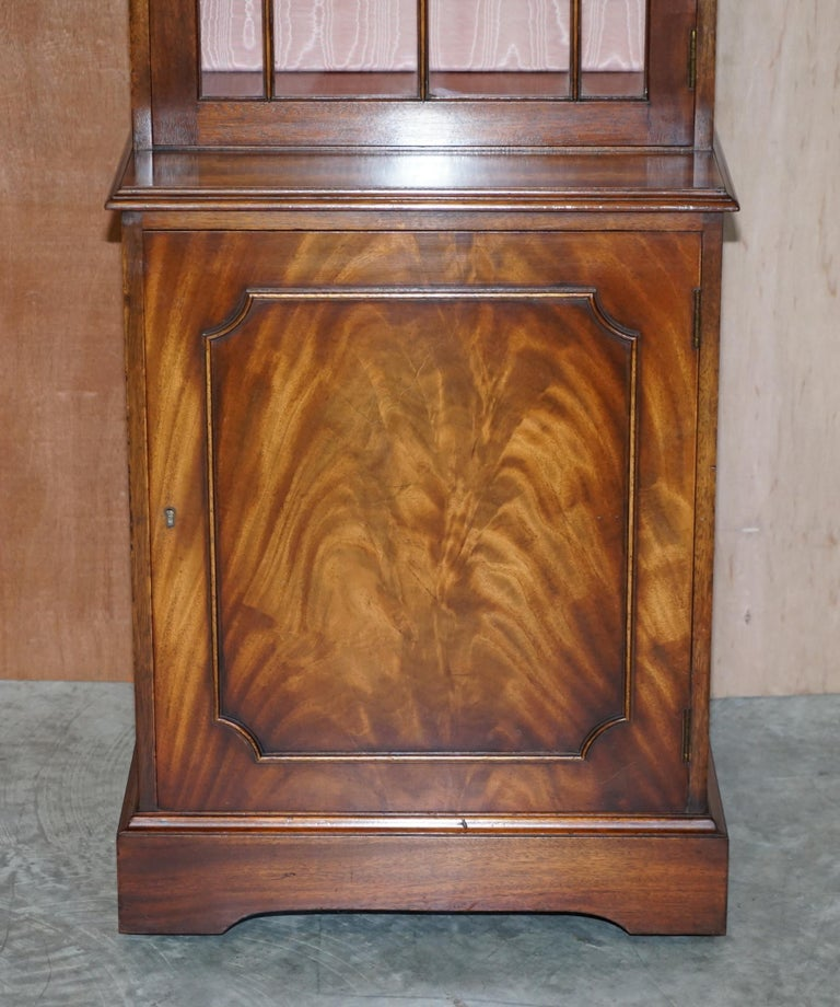 Victorian Flamed Hardwood  Bevan Funnell Glass Shelves with Lights Library Boocase Cabinet For Sale
