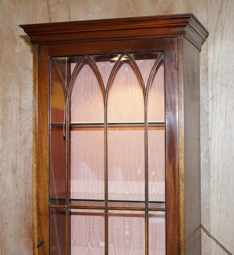 Hand-Crafted Flamed Hardwood  Bevan Funnell Glass Shelves with Lights Library Boocase Cabinet For Sale