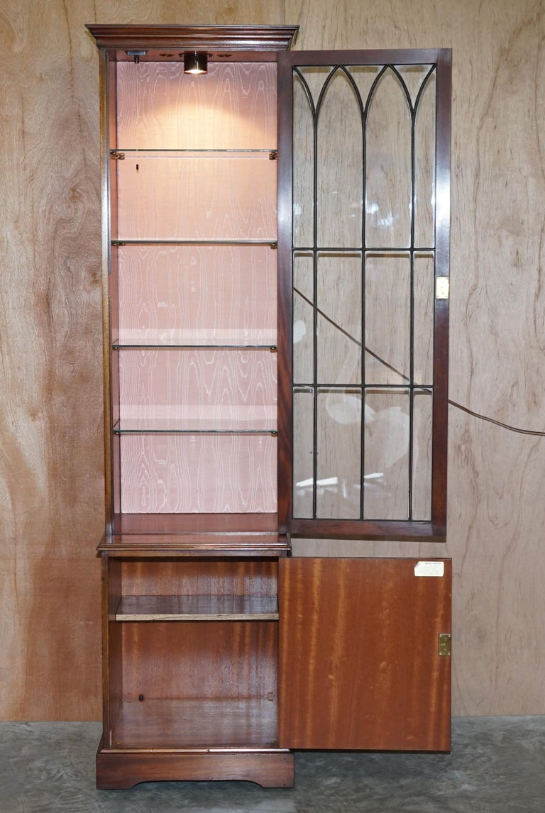 Flamed Hardwood  Bevan Funnell Glass Shelves with Lights Library Boocase Cabinet For Sale 1