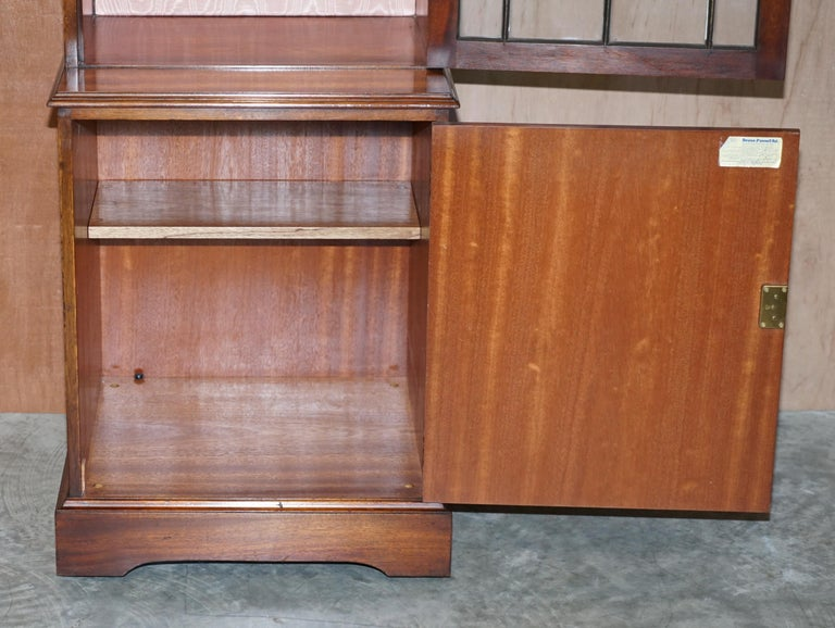 Flamed Hardwood  Bevan Funnell Glass Shelves with Lights Library Boocase Cabinet For Sale 2