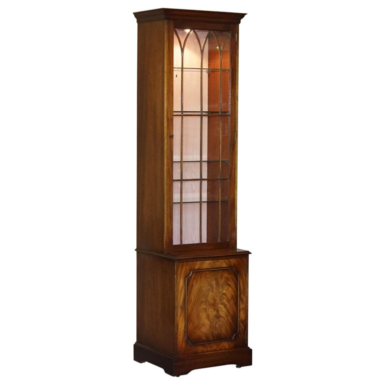 Flamed Hardwood  Bevan Funnell Glass Shelves with Lights Library Boocase Cabinet For Sale