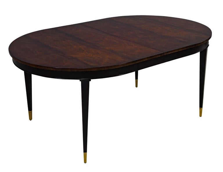 Brass Flamed Mahogany Dining Table Hepplewhite Inspired For Sale