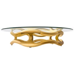 Flamenca Contemporary Centre Table, Handcrafted in Geometric Poplar Hardwood