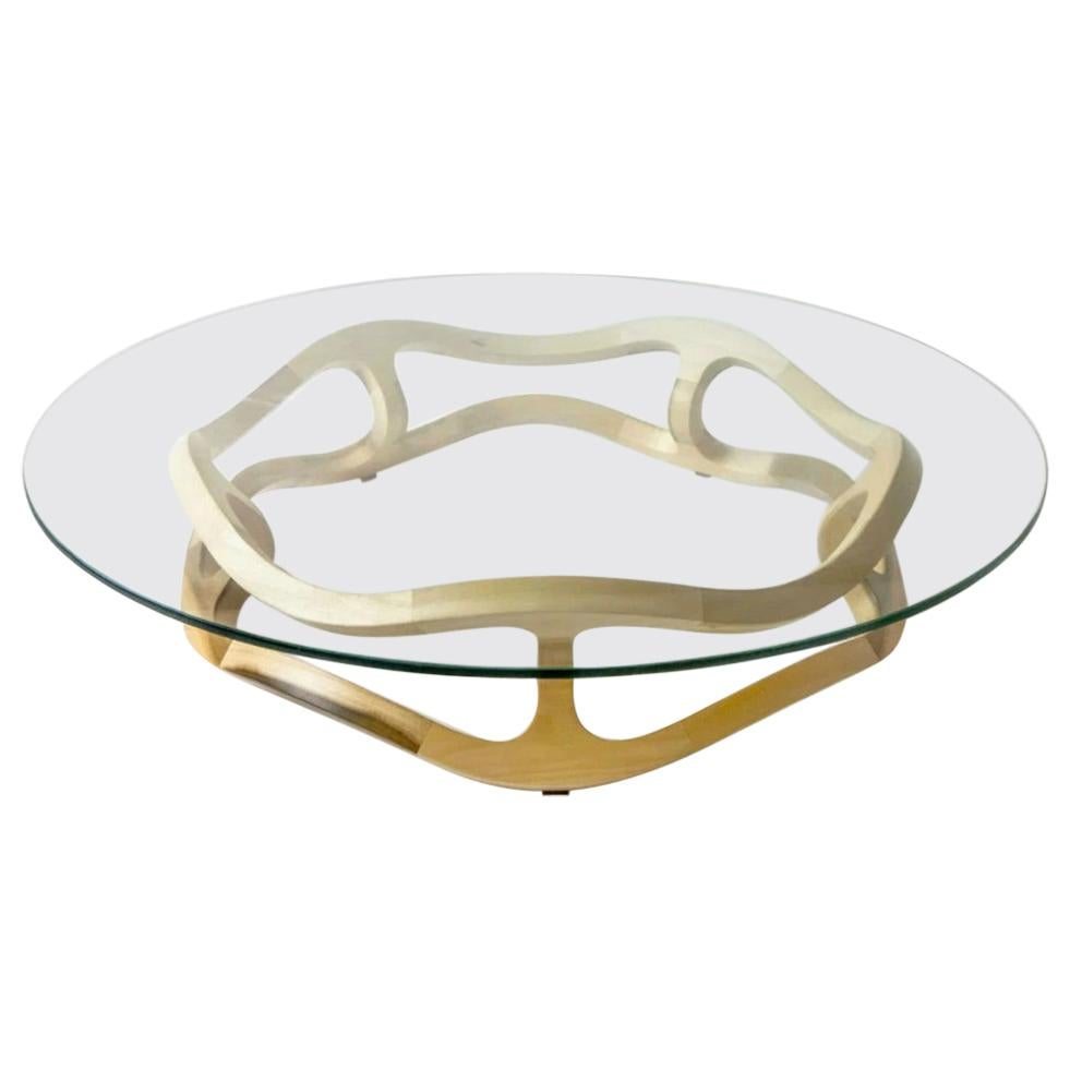 Contemporary Wood and Glass Top Center Table in Poplar Wood from Mexico