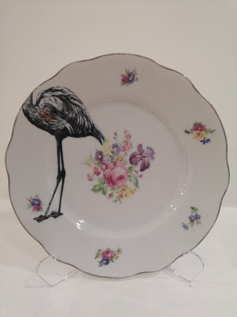 Gray Flamingo couple dish plate For Sale