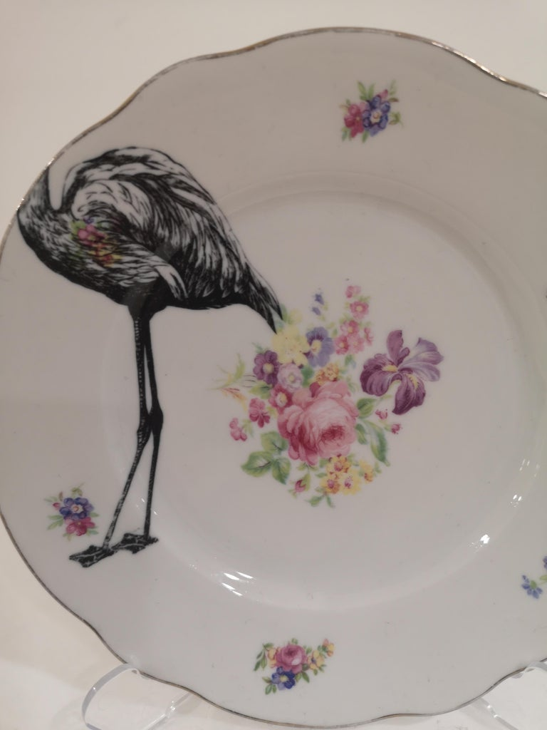 Women's or Men's Flamingo couple dish plate For Sale