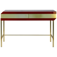 Flamingo Desk Table in Lacquered Wood and Brass