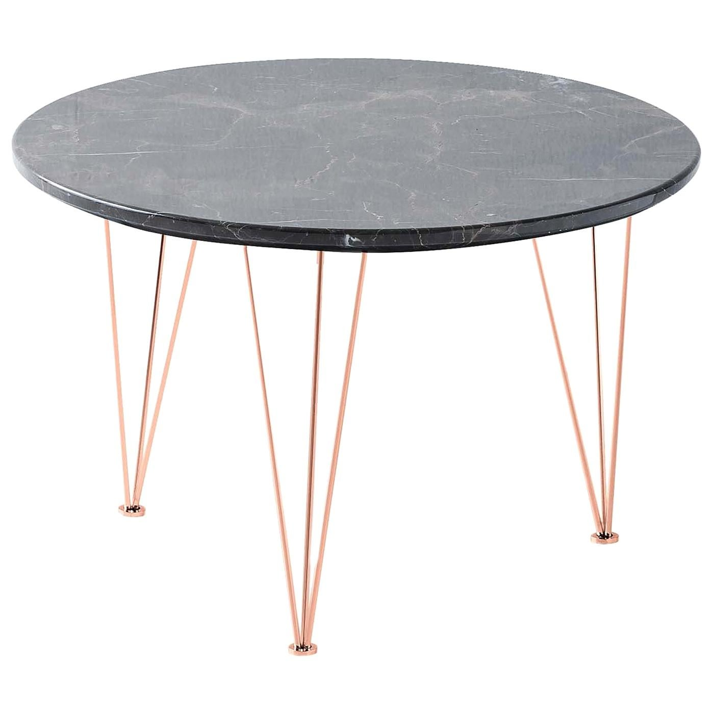 Flamingo Low Round Side Table with Copper Legs