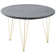 Flamingo Low Round Side Table with Gold Legs