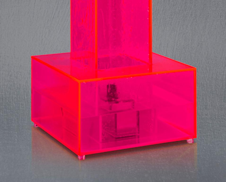 Minimalist Flamingo, Neon, Contemporary Neon Pink Acrylic Tower Fountain  For Sale
