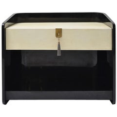 Flamme Blackened and Lacquered Mahogany Wood and Goatskin Finish Bedside Table