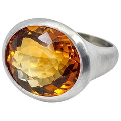 """Flamme et Glace"" 16 Carat Oval Citrine in Brushed White Gold Solitaire Setting"