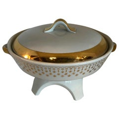 Flare-Ware by Hall China White Porcelain with Gilt Accents Chafing Dish / Fondue