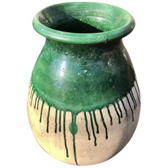 Flared French Green Demi-Glazed Terracotta Pot