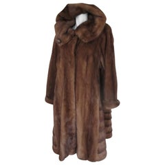 Flared Mink Fur Coat with Hood