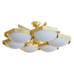 Flash Mount Brass Structure Murano White Glass Ceiling Light by Alberto Dona