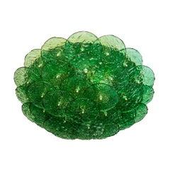 Flash Mount Ceiling / Wall Light Murano Emerald Green Textured Blown Disc Glass