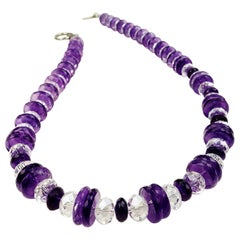 Flashing Amethyst and Crystal Necklace February Birthstone