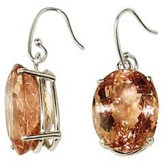 Flashing Oval Morganite Earrings in Sterling Silver
