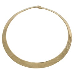 Flat and Wide Omega Collar or Choker Chain in Yellow Gold
