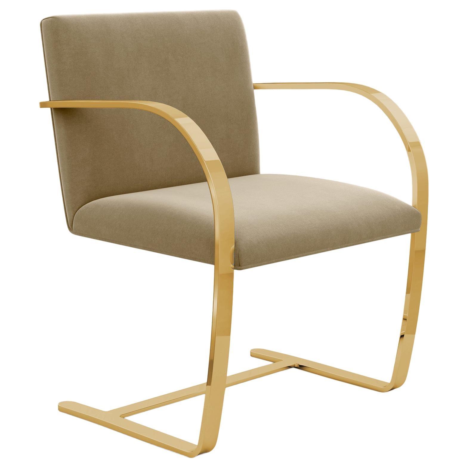 Flat Bar Brno Arm Chair, Knoll Velvet/Sandstone Upholstery & Gold Frame