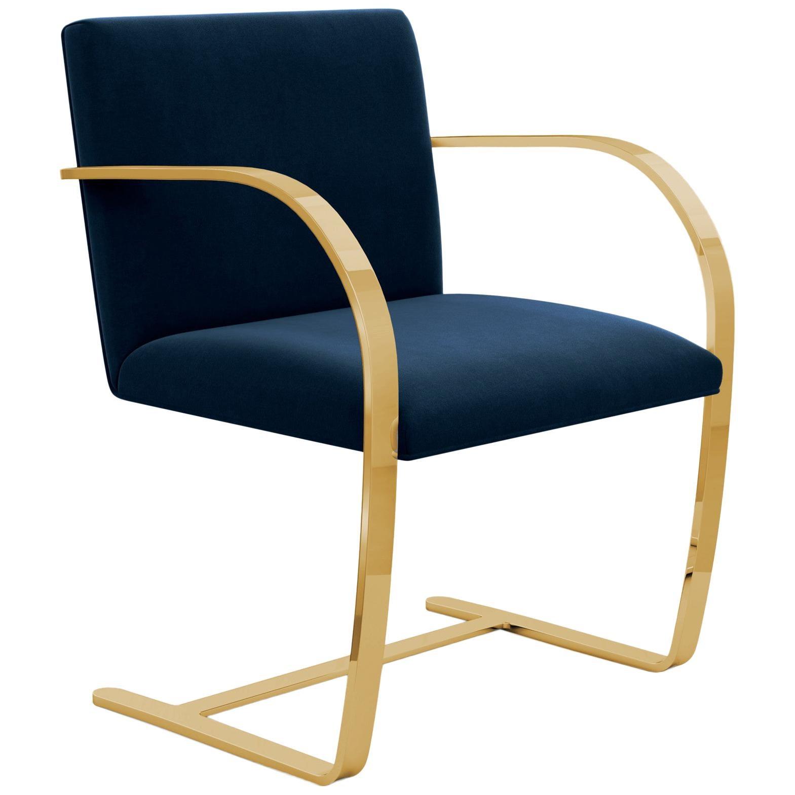 Flat Bar Brno Arm Chair, Knoll Velvet/Aviator Upholstery & Gold Frame