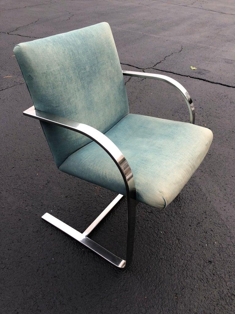 Mid-Century Modern Flat Bar Brno Style Chair For Sale