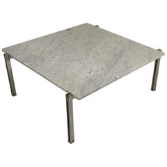 Flat Bar Chrome with Carrara Marble-Top Coffee Table in the Style Kjaerholm