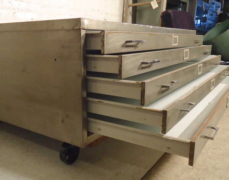 Metal Flat File Coffee Table For Sale