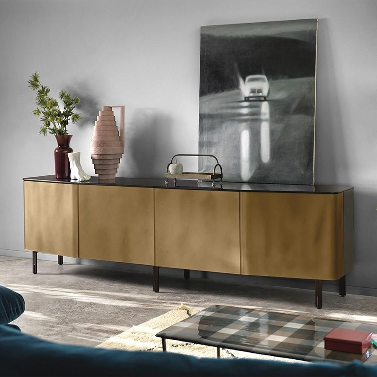 Flat Glass Sideboard Coated with Acid-Etched Glass In New Condition For Sale In Paris, FR