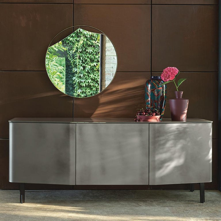Contemporary Flat Glass Sideboard Coated with Acid-Etched Glass For Sale