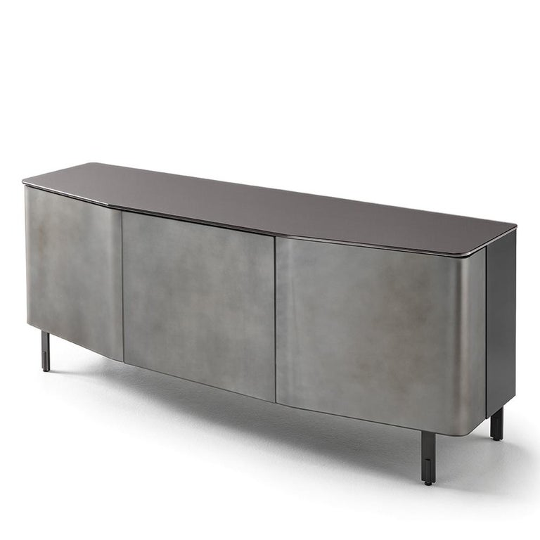 Flat Glass Sideboard Coated with Acid-Etched Glass For Sale 1