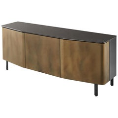 Flat Glass Sideboard Coated with Acid-Etched Glass