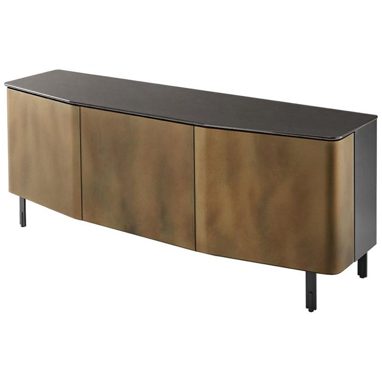 Flat Glass Sideboard Coated with Acid-Etched Glass For Sale
